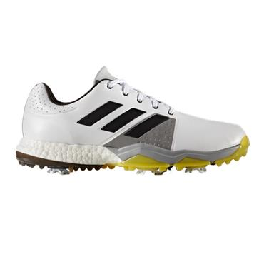 adidas Gents Adipower Boost 3 Golf Shoes Medium Fit White - Carbon - Vivid Yellow