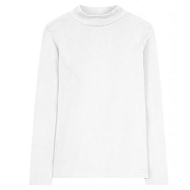 Emreco Ladies Rosie Turtle Neck Fine Rib Long Sleeve Top White