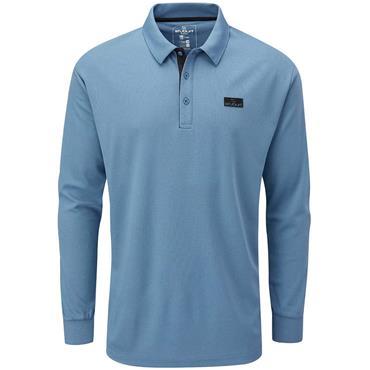 Stuburt Gents Active Long Sleeve Polo Shirt Denim Blue