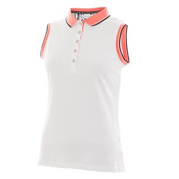 Green Lamb Ladies Pam Jersey Club Sleeveless Polo White - Coral