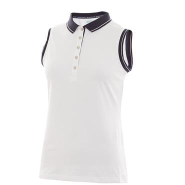 Green Lamb Ladies Pam Jersey Club Sleeveless Polo White - Navy