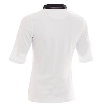 Green Lamb Ladies Pat Jersey Club ½ Sleeve Polo Shirt White - Black