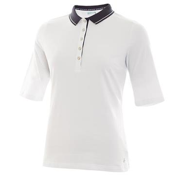 Green Lamb Ladies Pat Jersey Club 1/2 Sleeve Polo White - Navy