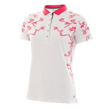 Green Lamb Ladies Phil Placement Print Polo White - Hibiscus