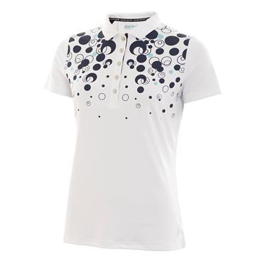 Green Lamb Ladies Phil Placement Print Polo White - Navy