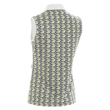 Green Lamb Ladies Philomena Sleeveless Printed Polo White - Greenery