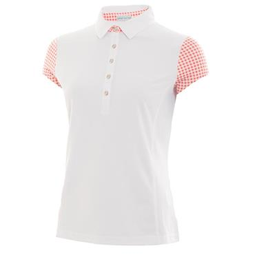 Green Lamb Ladies Phoenix Cap Sleeve Polo White - Coral