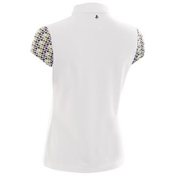 Green Lamb Ladies Phoenix Cap Sleeve Polo White - Greenery