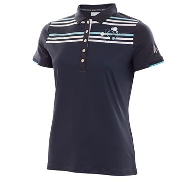 Green Lamb Ladies Pansy Striped Polo Navy