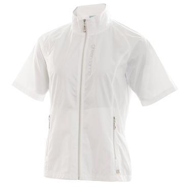 Green Lamb Ladies Jordan Embossed Half Sleeve Full Zip Windbreaker White