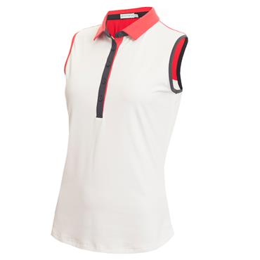 Green Lamb Eden S/less Back Panel Polo White - Red