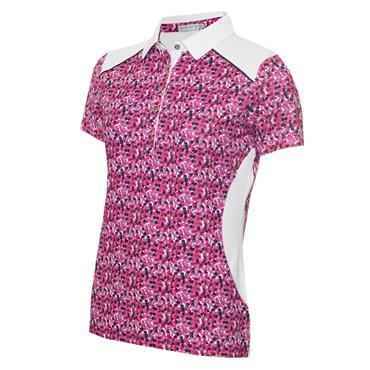Green Lamb Ladies Ember Printed Panels Polo Shirt Petal