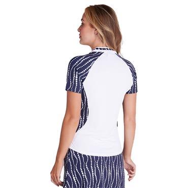 Green Lamb Emily Raglan Sleeve Print Polo Shirt White - Mono