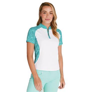 Green Lamb Emily Raglan Sleeve Print Polo Shirt White - Palm