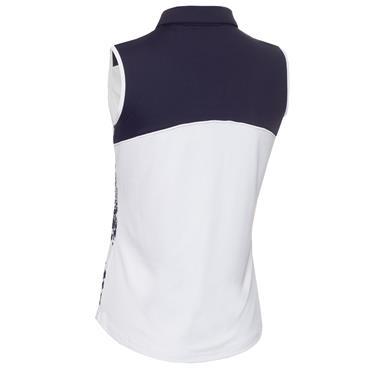 Green Lamb Ladies Enid Print Sleeveless Polo Shirt Dandelion