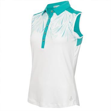 Green Lamb Ladies Enid Print Sleeveless Polo Shirt Palm - White