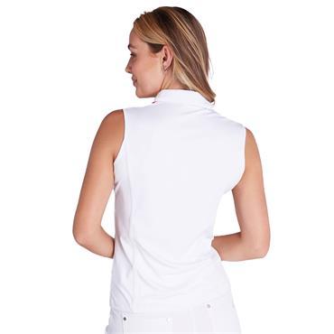 Green Lamb Ladies Erica Sleeveless Print Panels Polo Shirt Diamonds