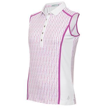 Green Lamb Ladies Erica Sleeveless Print Panels Polo Shirt Hexagon