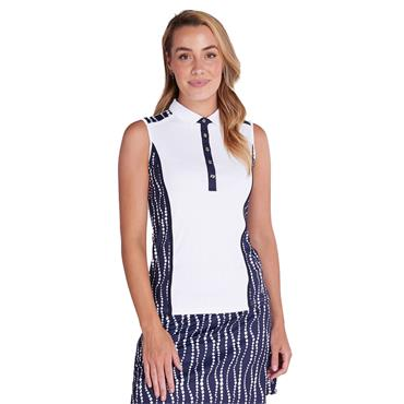 Green Lamb Ladies Erica Sleeveless Print Panels Polo Shirt White - Mono