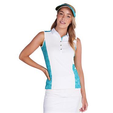 Green Lamb Ladies Erica Sleeveless Print Panels Polo Shirt White - Palm
