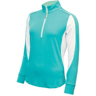 Green Lamb Ladies Eva Long Sleeve ½ Zip Top Peacock