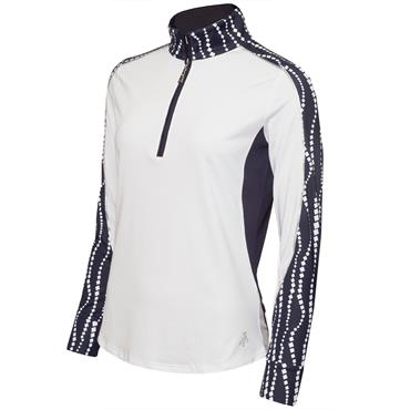 Green Lamb Ladies Eva Long Sleeve ½ Zip Top White - Mono