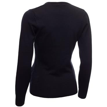 Green Lamb Ladies Gillian Slim Fit V-Neck Cable Sweater Navy