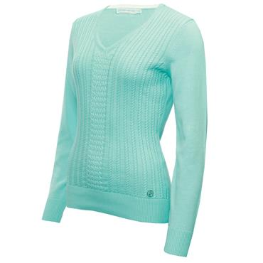 Green Lamb Ladies Gillian Slim Fit V-Neck Cable Sweater Opal