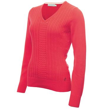Green Lamb Ladies Gillian Slim Fit V-Neck Cable Sweater Strawberry