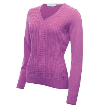 Green Lamb Ladies Gillian Slim Fit V-Neck Cable Sweater Violet