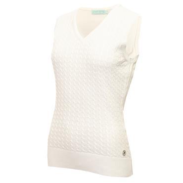Green Lamb Ladies Glenda Slim Fit V-Neck Cable Slipover White