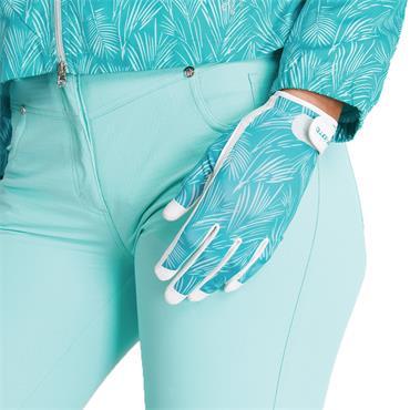 Green Lamb Ladies Isla Printed Leather Trim Glove Palm