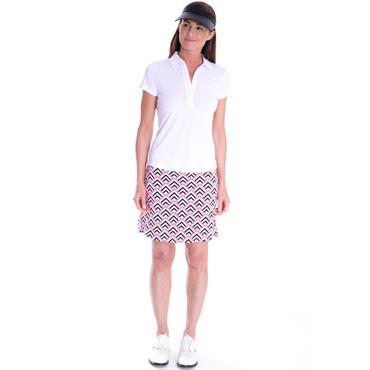 Golftini Ladies Ruffle Tech Polo Shirt White