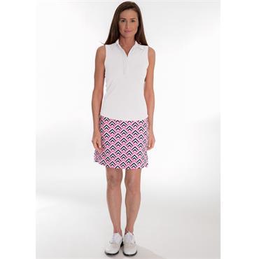 Golftini Ladies Sleeveless Ruffle Tech Polo Shirt White