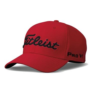 Titleist Gents Dobby Tech Cap Red - Black