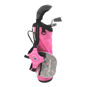"U.S. Kids 39"" 3-Club Carry Bag Set Junior RH Pink - Silver"
