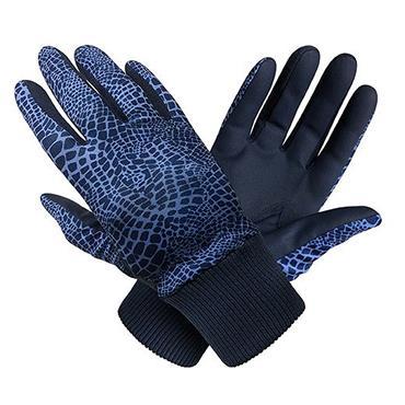 Surprizeshop Ladies Polar Stretch Winter Gloves Navy Snake