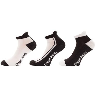 Green Lamb Ladies Colour Block Socks 3-Pairs  White Black