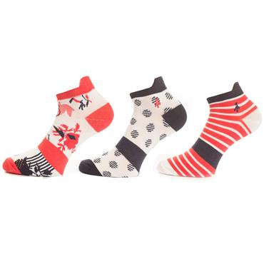 Green Lamb Patterned Sock 3 Pack  Red Navy
