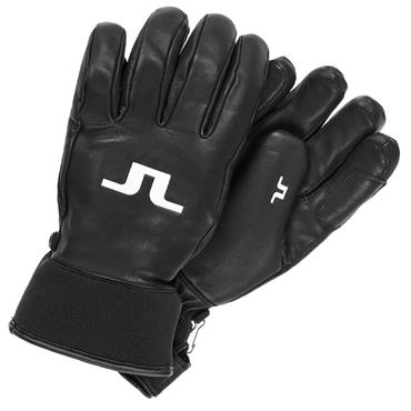 J.Lindeberg Gents Bridge Insulated Leather Gloves  BLACK