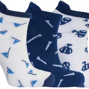 Surprizeshop Ladies Patterned Golf Socks 3-Pairs  Navy - White