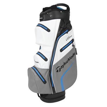 TaylorMade TM19 Deluxe Waterproof Cart Bag  Black/White/Grey/Blue