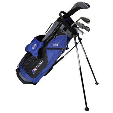 """U.S. Kids Junior 60"""" 5-Club WT-10u Stand Bag Set Right Hand Blue/Black/Grey"""