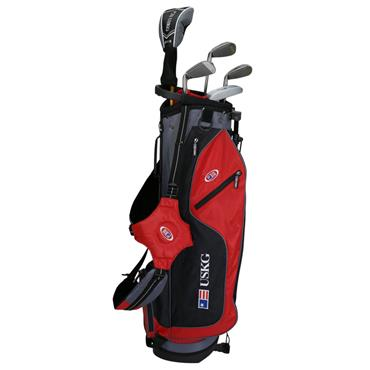 "U.S. Kids Junior 63"" 5-Club WT-10u Stand Bag Set Right Hand Red/Black/Grey"