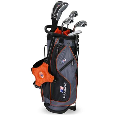 "U.S. Kids Junior 51"" 5-Club Stand Bag Set Left Hand Grey Orange"