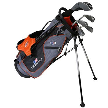 "U.S. Kids Junior 51"" 5-Club Stand Bag Set Right Hand Grey Orange"