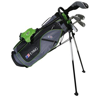 "U.S. Kids Junior 57"" 5-Club WT-15u Stand Bag Set Right Hand Grey Green"