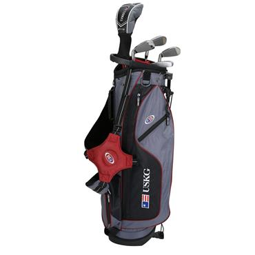 "U.S. Kids Junior 60"" 5-Club WT-10u Stand Bag Set Left Hand Grey/Maroon"