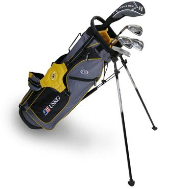 "U.S. Kids Junior 63"" 5-Club WT-10u Stand Bag Set Left Hand Grey Gold"