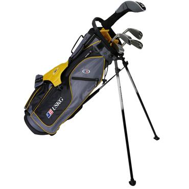 "U.S. Kids Junior 63"" 5-Club WT-10u Stand Bag Set Right Hand Grey Gold"